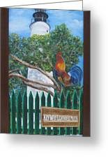 Key West Lighthouse Rooster Greeting Card