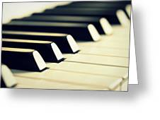 Keyboard Of A Piano Greeting Card by Chevy Fleet