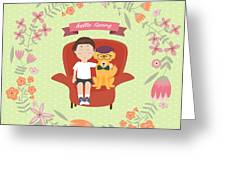 Kid With Golden Retriever Dog On The Greeting Card