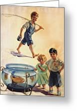 Kids And Fishing  1934 Greeting Card