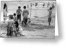Kids At Beach Greeting Card