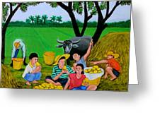 Kids Eating Mangoes Greeting Card by Cyril Maza