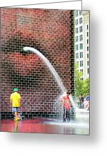 Kids Play In City Fountain Greeting Card