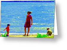 Kids Playing On The Seashore Mom And Little Boys Pointe Claire Montreal Waterscene Carole Spandau Greeting Card