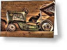 Kids Toy Pedal Tractor On Shelf Greeting Card