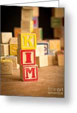 Kim - Alphabet Blocks Greeting Card by Edward Fielding
