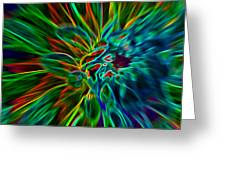 Kinetic Neon Abstract Greeting Card by James Hammen