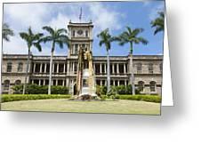 King Kamehameha In Leis Greeting Card