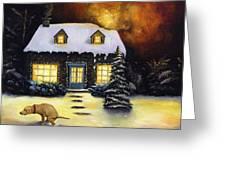 Kinkade's Worst Nightmare Greeting Card by Leah Saulnier The Painting Maniac