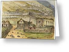 Kirk G Boe Inn And Ruins Faroe Island Circa 1862 Greeting Card by Aged Pixel