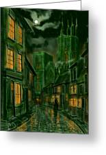 Kirkgate And Bridlington Priory By Moonlight Greeting Card