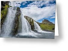 Kirkjufellsfoss Waterfalls, Church Greeting Card