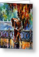 Kiss After The Rain - Palette Knife Oil Painting On Canvas By Leonid Afremov Greeting Card