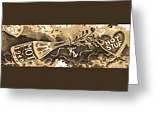Kiss Me Hot Stuf In Sepia Greeting Card