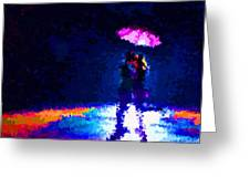 Kissing In The Rain Greeting Card