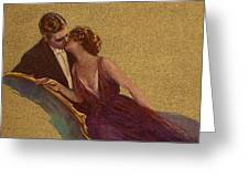 Kissing On The Chaise-longue Valentine Greeting Card by Sarah Vernon