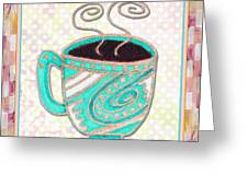 Kitchen Cuisine Hot Cuppa Aqua By Romi And Megan Greeting Card