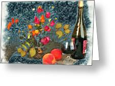 Kitchen - Peaches And Wine Painting  Greeting Card by Liane Wright