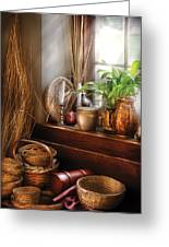 Kitchen - Try To Keep Busy  Greeting Card by Mike Savad