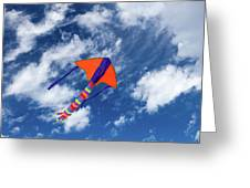 Kite Flying In Sky Greeting Card