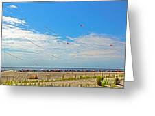 Kites Flying Over The Sand Greeting Card