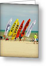 Kites Over Lake Michigan - Two Rivers Wi Greeting Card