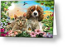 Kitten And Puppy Greeting Card