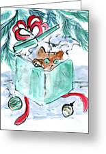 Kitten In A Shredded Present Greeting Card