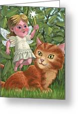 Kitten With Girl Fairy In Garden Greeting Card