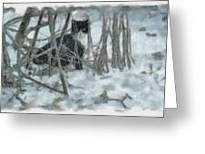 Kitty In The Cold Greeting Card