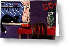 Kitty Over Manhattan Greeting Card