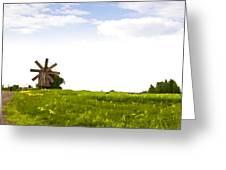 Kizhi Island Windmill Russia Greeting Card