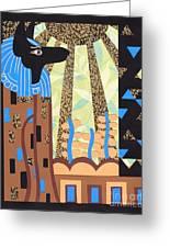 Klimt's Paper Anubis Greeting Card