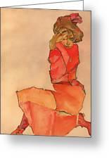 Kneeling Female In Orange-red Dress Greeting Card