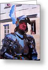 Knight In Full Armor During Parade Greeting Card