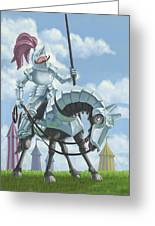 Knight In Shining Armour On Horesback Greeting Card