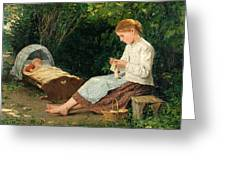 Knitting Girl Watching The Toddler In A Craddle Greeting Card
