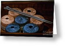 Knitting Yarn In A Wooden Box Greeting Card