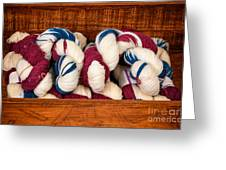 Knitting Yarn In Patriotic Colors Greeting Card
