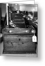 Kodak Folding Autographic Brownie 2-a Black And White Greeting Card by Kaye Menner