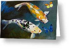 Koi Fish And Butterflies Greeting Card by Michael Creese