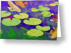Koi Fish Under The Lilly Pads  Greeting Card by Jon Neidert