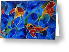 Koi Pond 2 - Liquid Fish Love Art Greeting Card