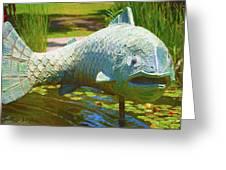 Koi Pond Fish Santa Barbara Greeting Card by Barbara Snyder