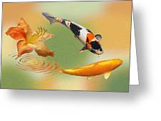 Koi With Azalea Ripples Dreamscape Greeting Card