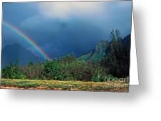 Koolau Mountains And Rainbow Greeting Card