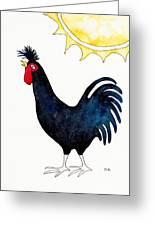 Kosovo Long Crowing Rooster Greeting Card