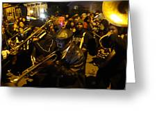 Krewe Du Vieux Parade In New Orleans Greeting Card by Louis Maistros