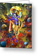 Krishna With A Star Deer Greeting Card