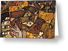 Krumau - Crescent Of Houses. The Small City V Greeting Card